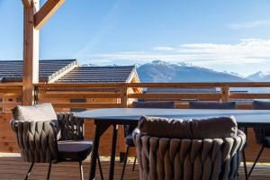 Outdoor Seating With Mountain View - Woodland Chalets West